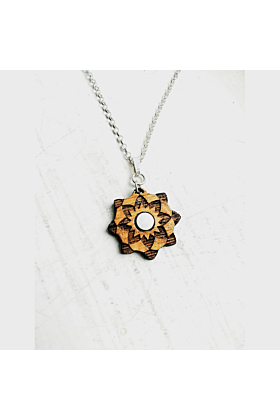 Star Flower Wood Pendant & Silver Necklace