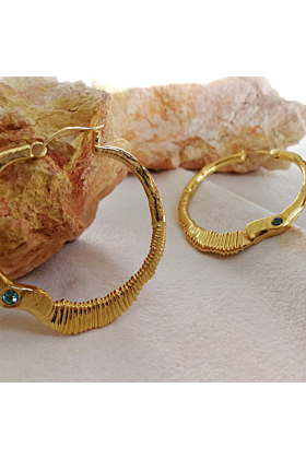 Gold Plated Molten Metal Museo Hoops With Garnet Or Topaz