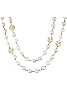 14kt Yellow Gold Filigree & White Pearl Necklace