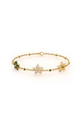 Garland Bracelet with CZ and Chrome Diopside