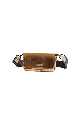 Gold Convertible Leather Belt Bag