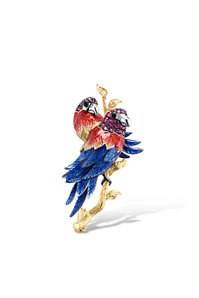 Gold plated Sterling Silver Brooch for Women with Parrot Couple