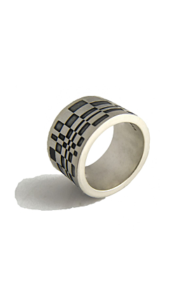 Chunky Silver Ring with oxidised pattern