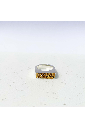Sterling Silver Oia Ring with Gold Leaf