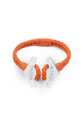 Orange Leather & Oxidised Sterling Silver Stark Bracelet