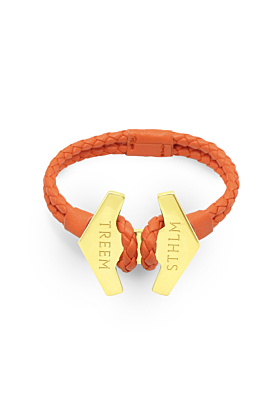 Orange Leather & Gold Stark Bracelet