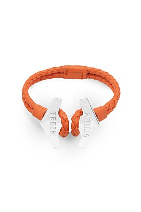 Orange Leather & Sterling Silver Stark Bracelet