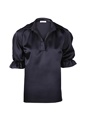 Navy Satin Naples Blouse