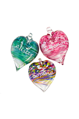 Glass Personalised Engraved Heart Bauble