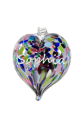 Glass Personalised Engraved Mini Heart Baubles