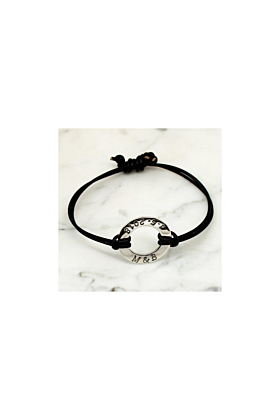 Sterling Silver Personalised Circle Round Leather Bracelet