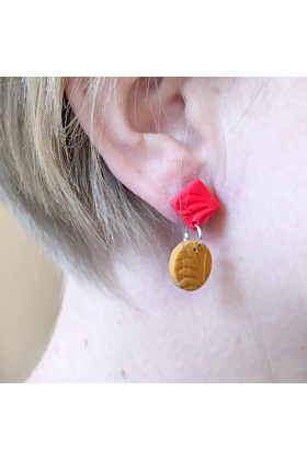 Stainless Steel Colourful Statement Textured Clay 2-Tier Dangle Earrings