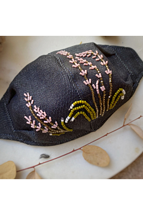 Hand Embroidered Face Mask Cover | Lavender &  Snowdrop Design