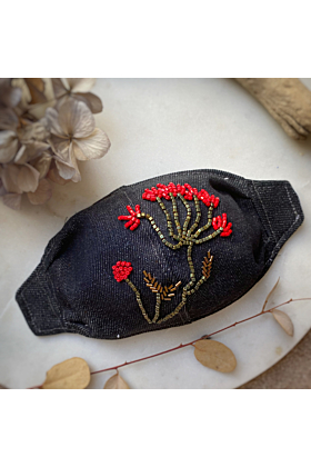 Hand Embroidered Face Mask Cover | Aloe Vera Flower Design