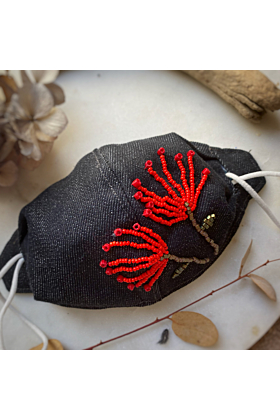 Hand Embroidered Face Mask Cover | Pincushion Flower Design