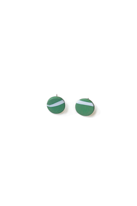 Stainless Steel White & Green Twig Inspired Stud Earrings