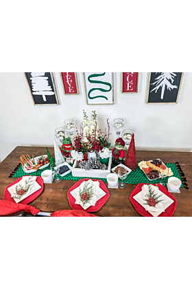 Pine Tree Embroidered Table Runner