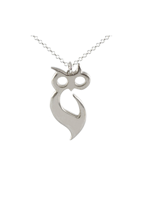 Silver Owl of Athena Playful Pendant