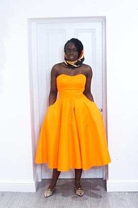 Orange Strapless Dustier Dress