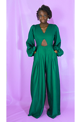 Wide Leg Jumpsuit with Cut-Out