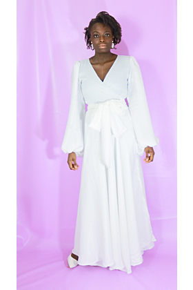 Maxi Wrap Dress with Bubble Sleeves