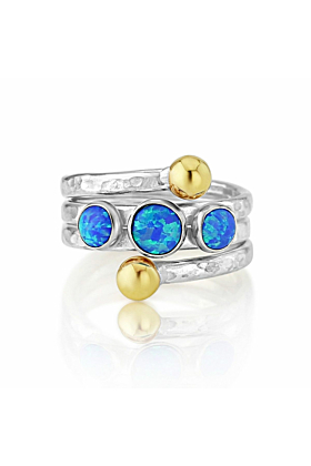 Blue Opal Gold and Silver Coil Ring