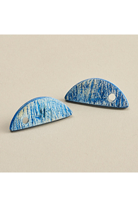 Oceans Apart Blue & White Polymer Clay Stud Earrings