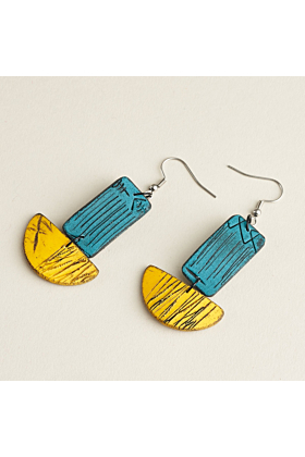 Stainless Steel Laila Isle Earrings | Teal and Yellow