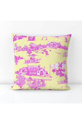 Cotton Hamptons Golf Pillow in Butter Yellow and Pink