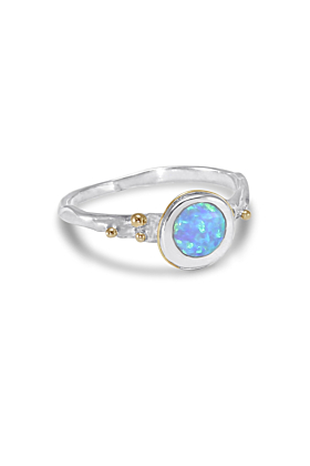Sterling Silver & Stunning Blue Opalite Detail Breathtaking Large Round Ring