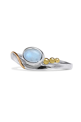 Sterling Silver Oval Moonstone Detail & Gold Fill Decor Ring