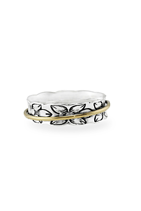 Sterling Silver Spinning Ring With Single Brass Band