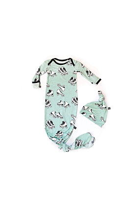 Roller Skates Knotted Bamboo Newborn Gown & Hat
