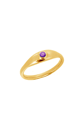 22kt Gold Plated Silver Amethyst Roman Signet Ring