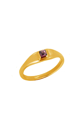 22kt Gold Vermeil Red Garnet Roman Signet Ring
