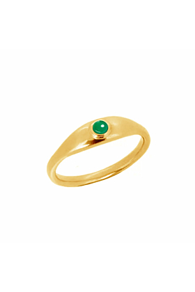 22kt Gold Plated Silver Green Agate Roman Signet Ring