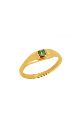 Green Tourmaline Roman Signet Ring