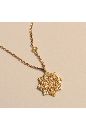 22kt Gold Plated Roman Star Micro Mosaic Necklace