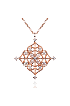Rose Gold Arabesque Pendant Necklace with Cubic Zirconia