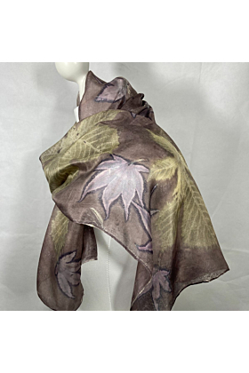 Silk scarf with Horse Chestnut and Acer Leaves
