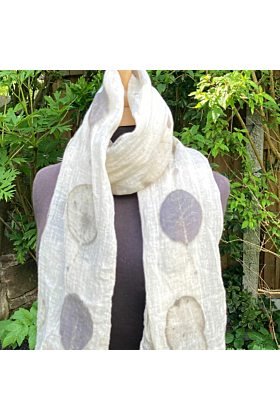 Hand Woven Linen Shawl with 'Raindrop' Cotinus Leaves