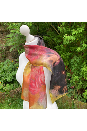 Silk scarf with Three Dyes and Summer Leaves