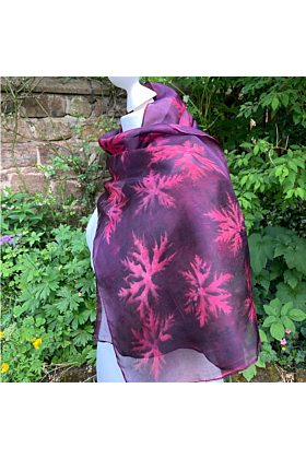 Silk Scarf with Cochineal and Hardy Geraniums