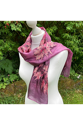 Silk Scarf with Cochineal and Sumac Leaves