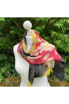 Silk Scarf with Three Dyes and Fig Leaves