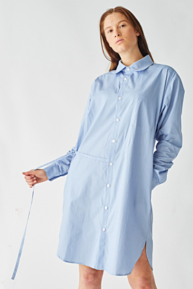 Blue Cotton 'Axl' Shirt with Asymmetrical Draw String