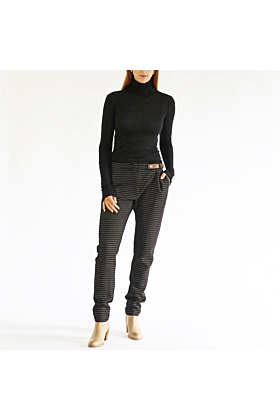 Side-Belt Trousers Pinstripe