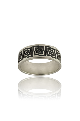 Silver band ring with oxidised abstract design lateral view on a white background