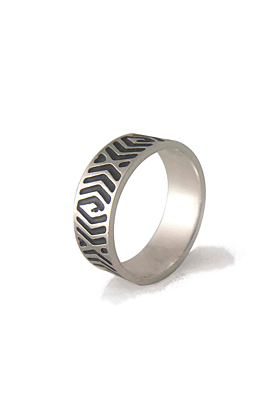 oxidised silver ring band with abstract design