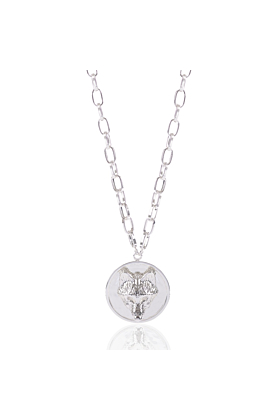 Silver Long  Wolf Disc Necklace